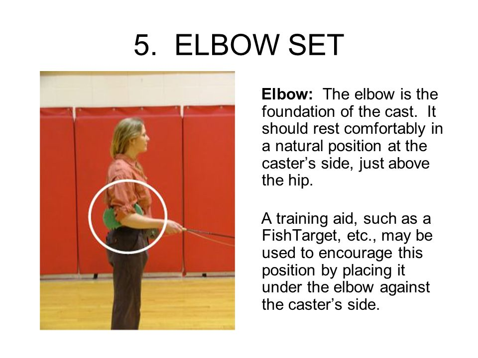 5. ELBOW SET Elbow: The elbow is the foundation of the cast. It should rest comfortably in a natural position at the caster's side, just above the hip