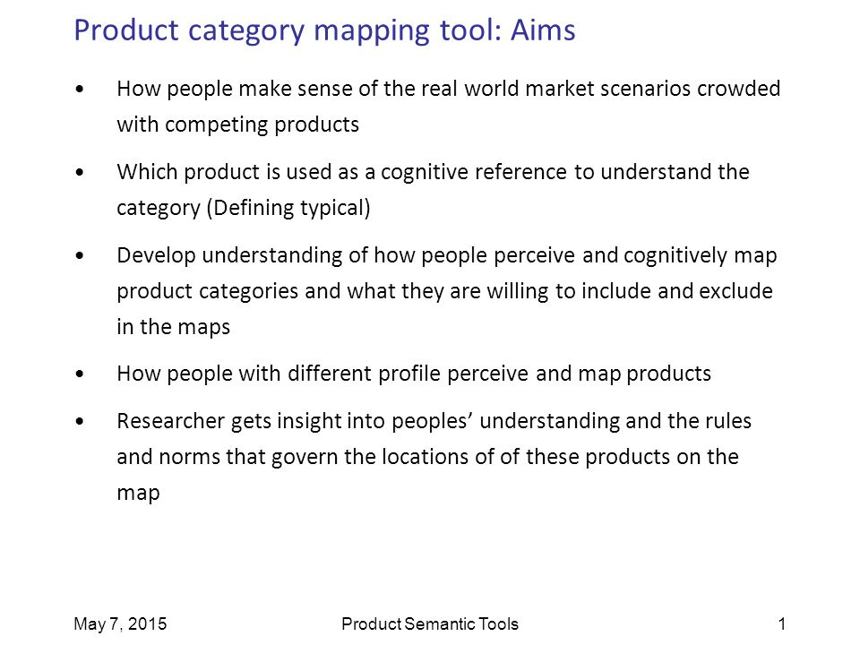 May 7, 2015Product Semantic Tools1 Product category mapping tool: Aims How people make sense of the real world market scenarios crowded with competing
