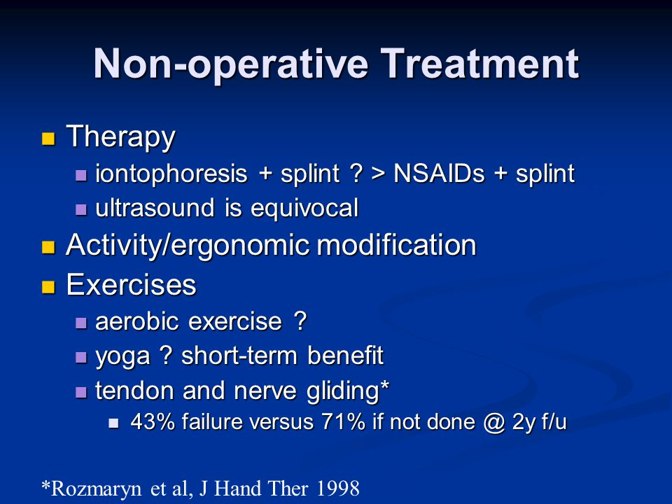 Non-operative Treatment Therapy Therapy iontophoresis + splint .