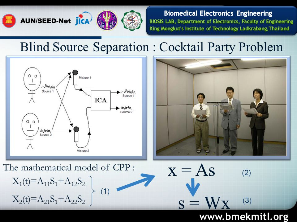 Blind Source Separation : Cocktail Party Problem The mathematical model of CPP : X 1 (t)=A 11 S 1 +A 12 S 2 X 2 (t)=A 21 S 1 +A 22 S 2 x = As s = Wx (1) (2) (3) www.bmekmitl.org