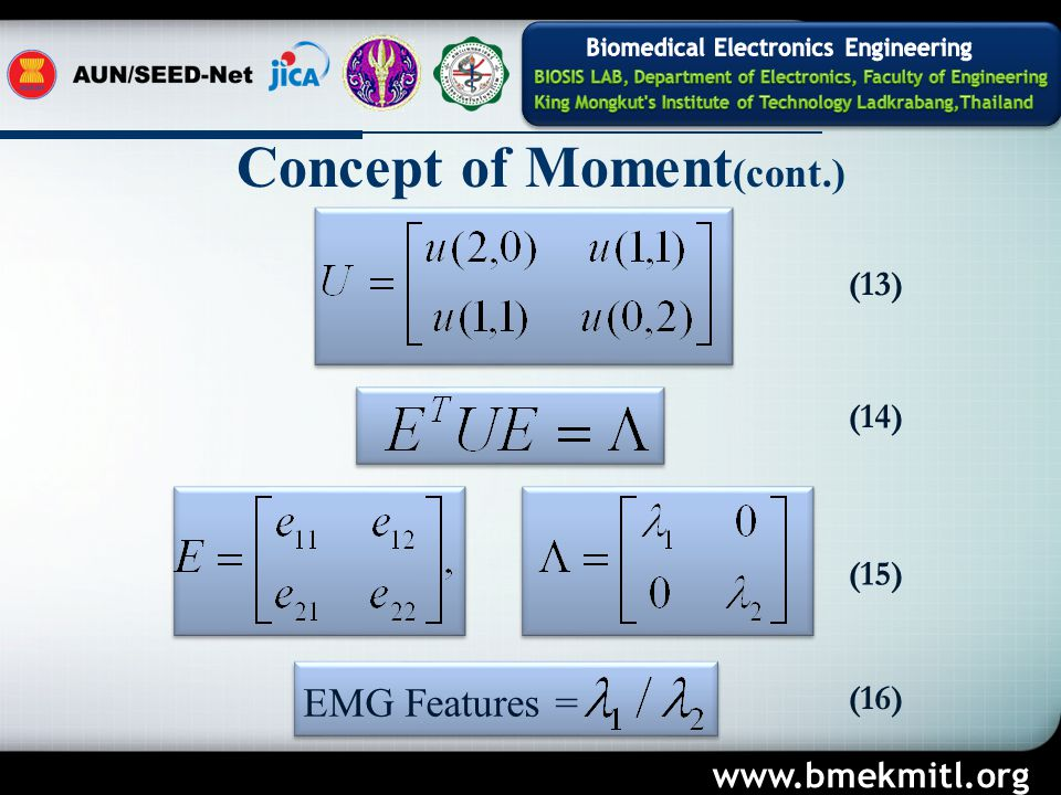 Concept of Moment (cont.) EMG Features = (13) (14) (15) (16) www.bmekmitl.org