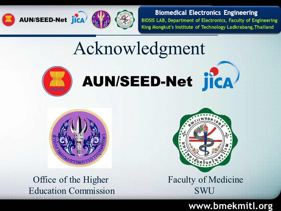 Acknowledgment Office of the Higher Education Commission Faculty of Medicine SWU www.bmekmitl.org