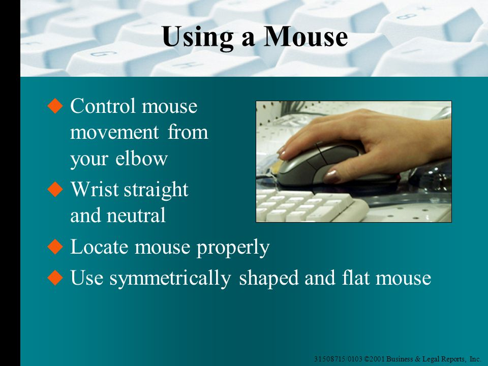 31508715/0103 ©2001 Business & Legal Reports, Inc. Using a Mouse  Control mouse movement from your elbow  Wrist straight and neutral  Locate mouse
