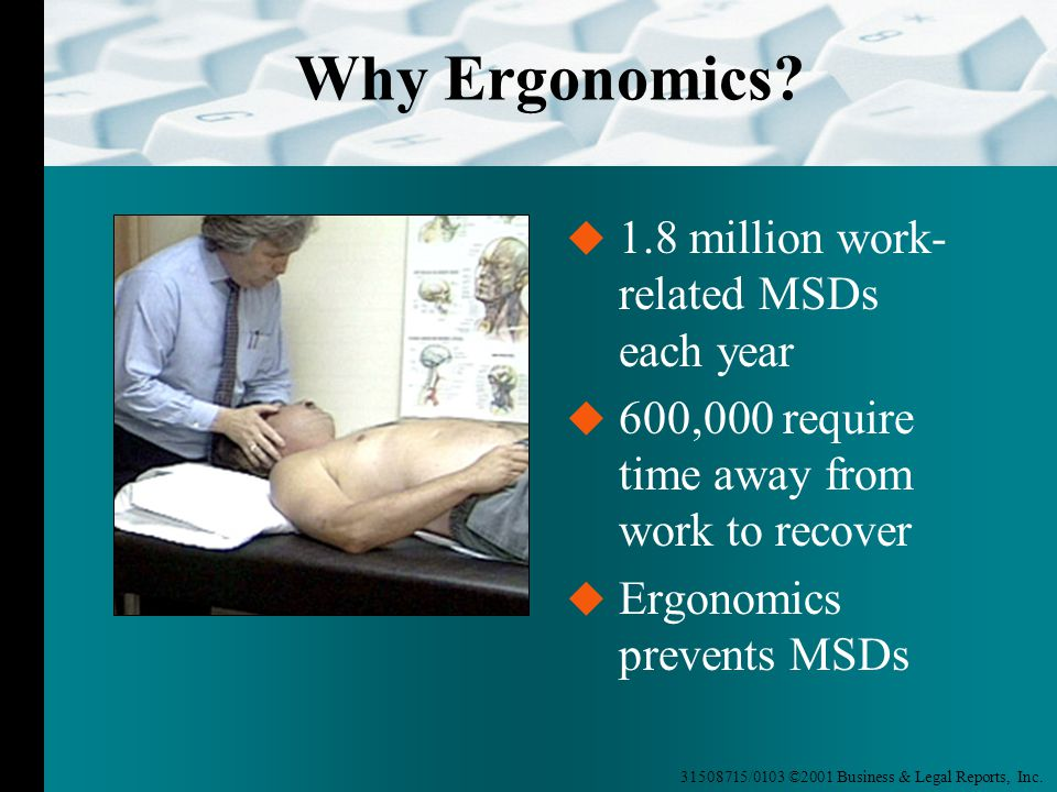 31508715/0103 ©2001 Business & Legal Reports, Inc. Why Ergonomics?  1.8 million work- related MSDs each year  600,000 require time away from work to