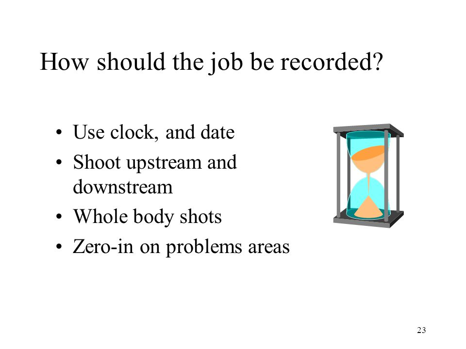 23 How should the job be recorded.