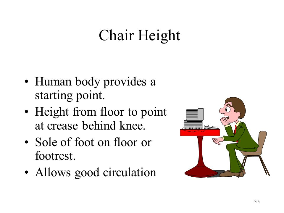 35 Chair Height Human body provides a starting point.