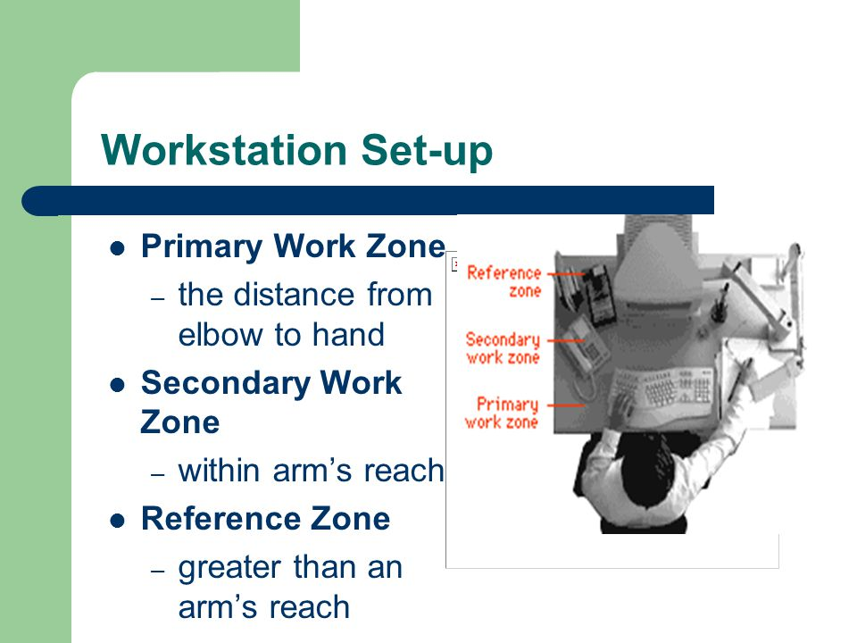 Workstation Set-up Primary Work Zone – the distance from elbow to hand Secondary Work Zone – within arm's reach Reference Zone – greater than an arm's
