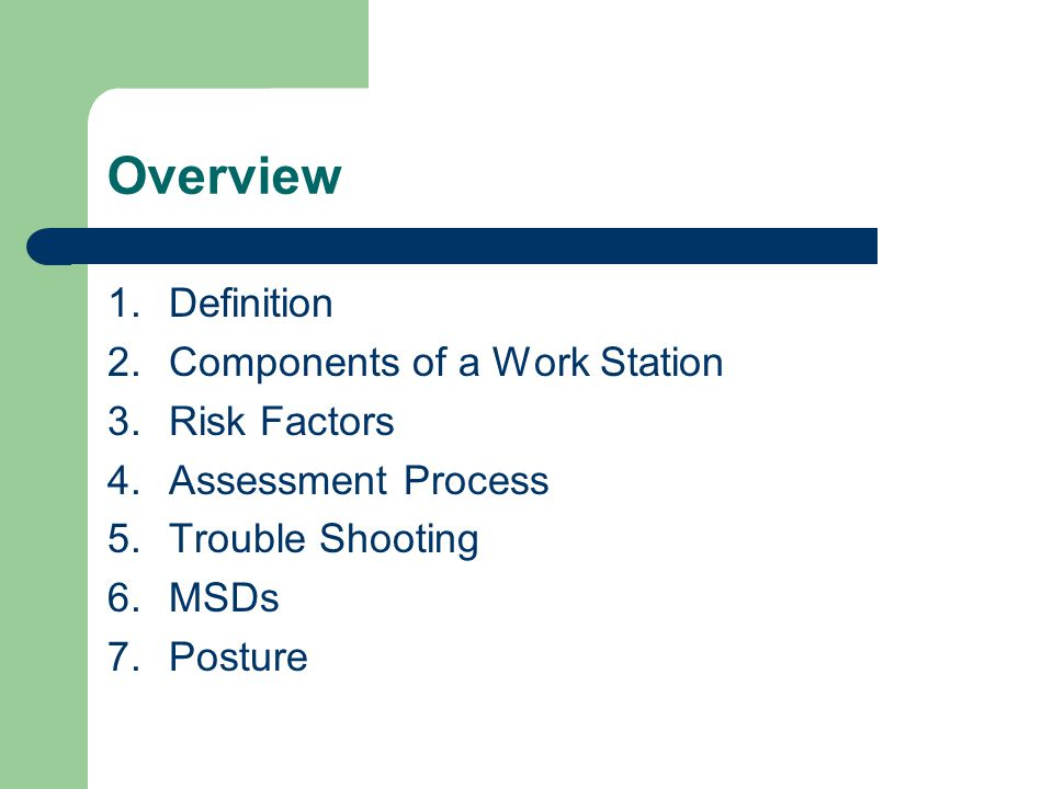 Overview 1.Definition 2.Components of a Work Station 3.Risk Factors 4.Assessment Process 5.Trouble Shooting 6.MSDs 7.Posture