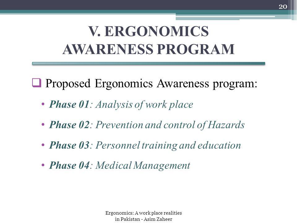 V. ERGONOMICS AWARENESS PROGRAM  Proposed Ergonomics Awareness program: Phase 01: Analysis of work place Phase 02: Prevention and control of Hazards