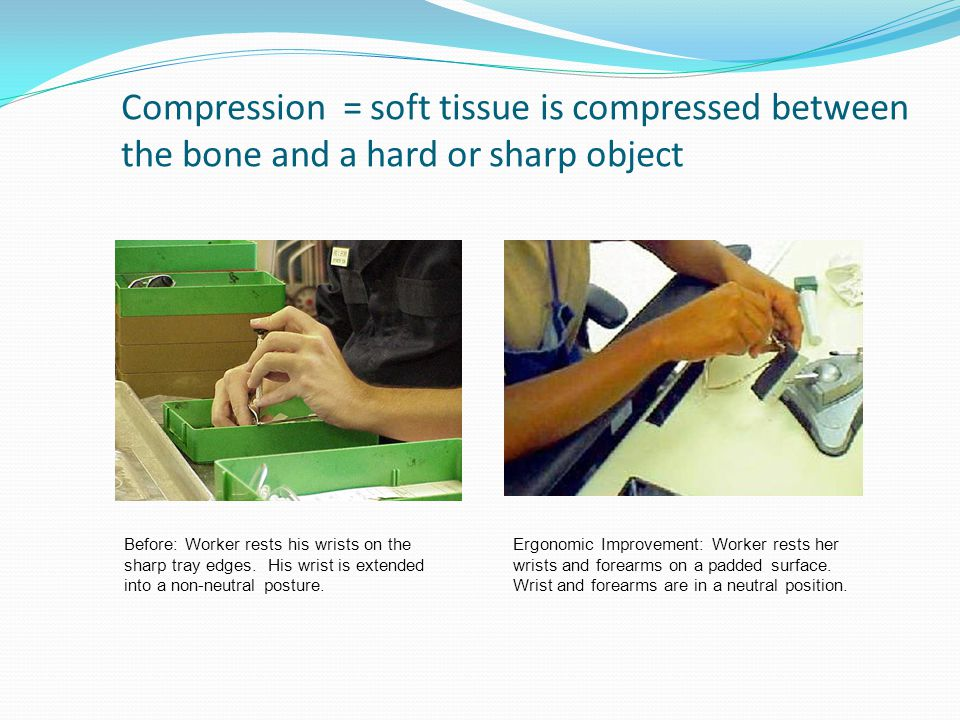 Compression = soft tissue is compressed between the bone and a hard or sharp object Before: Worker rests his wrists on the sharp tray edges.