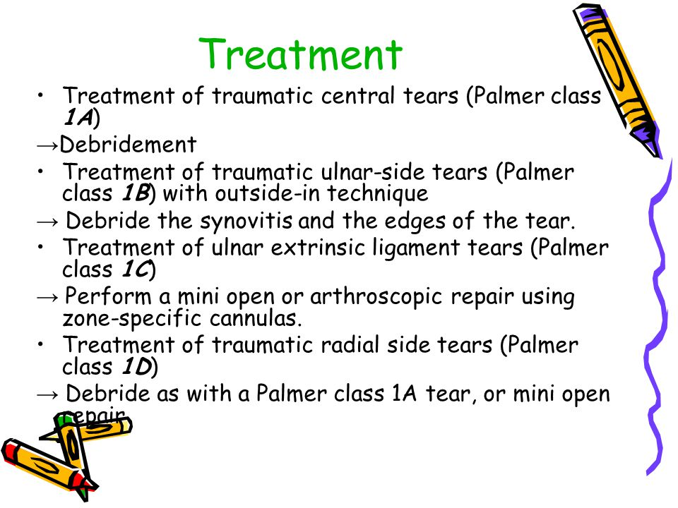 Treatment Treatment of traumatic central tears (Palmer class 1A) → Debridement Treatment of traumatic ulnar-side tears (Palmer class 1B) with outside-