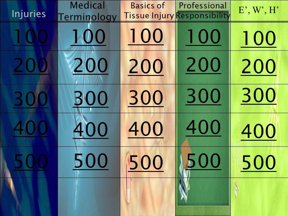 Injuries Medical Terminology Basics of Tissue Injury E', W', H' 100 200 300 400 500 Professional Responsibility