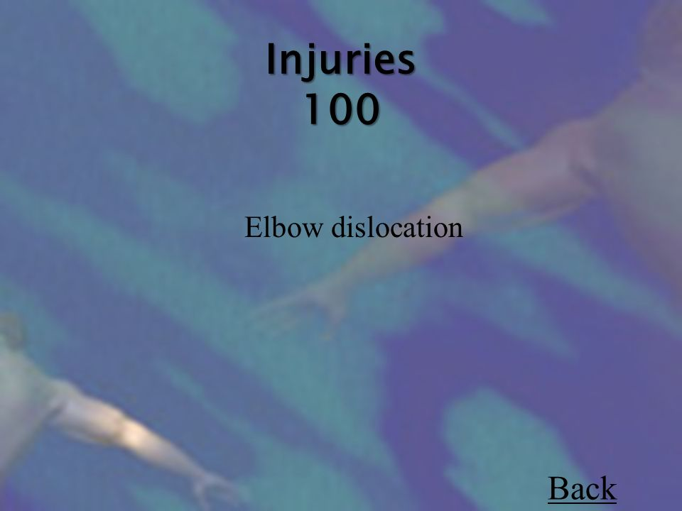 Injuries 100 Elbow dislocation Back