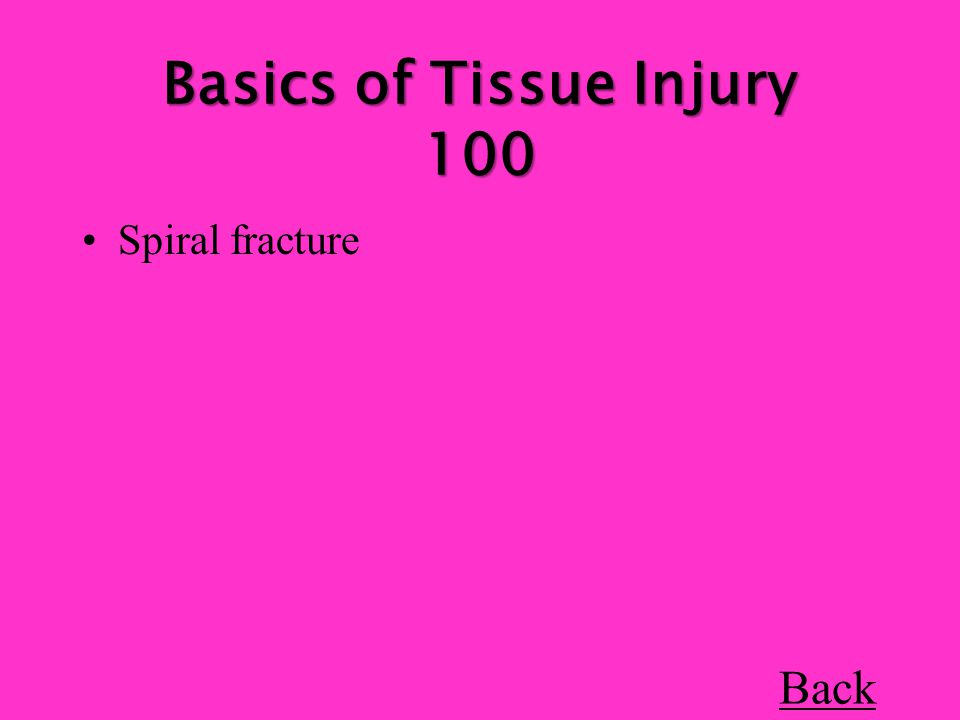 Basics of Tissue Injury 100 Spiral fracture Back
