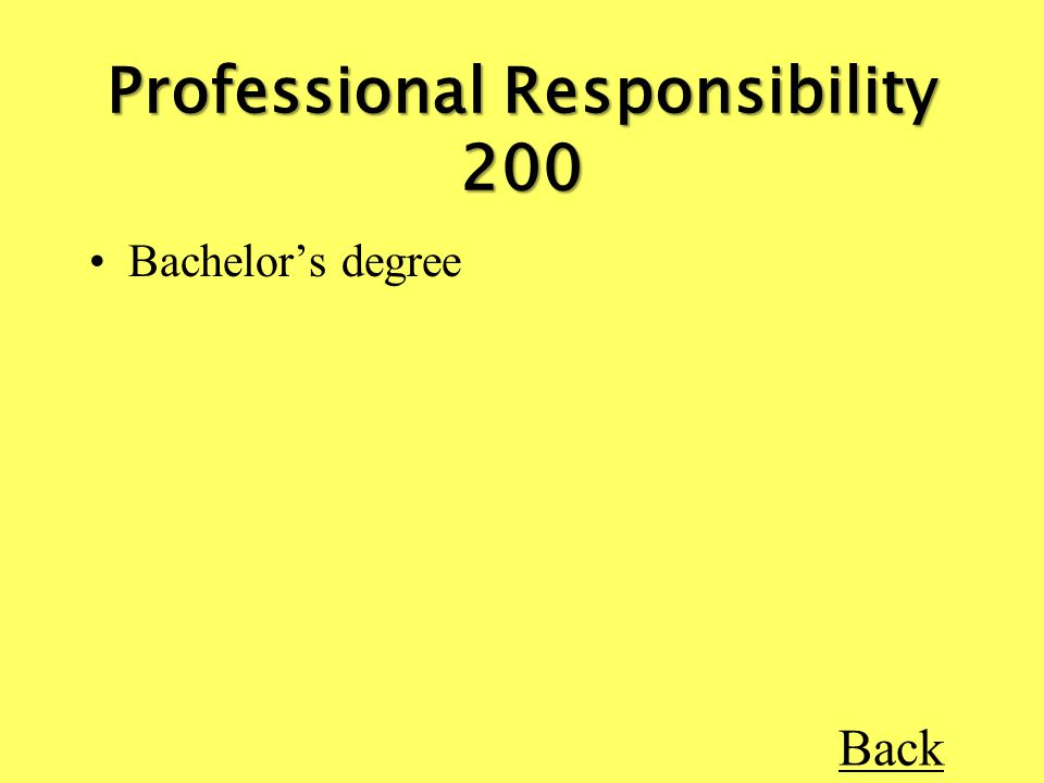 Bachelor's degree Back Professional Responsibility 200