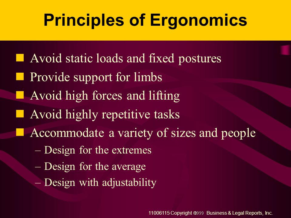 11006115 Copyright  Business & Legal Reports, Inc. What Should Ergonomics Address? Workplace design Task design Equipment design