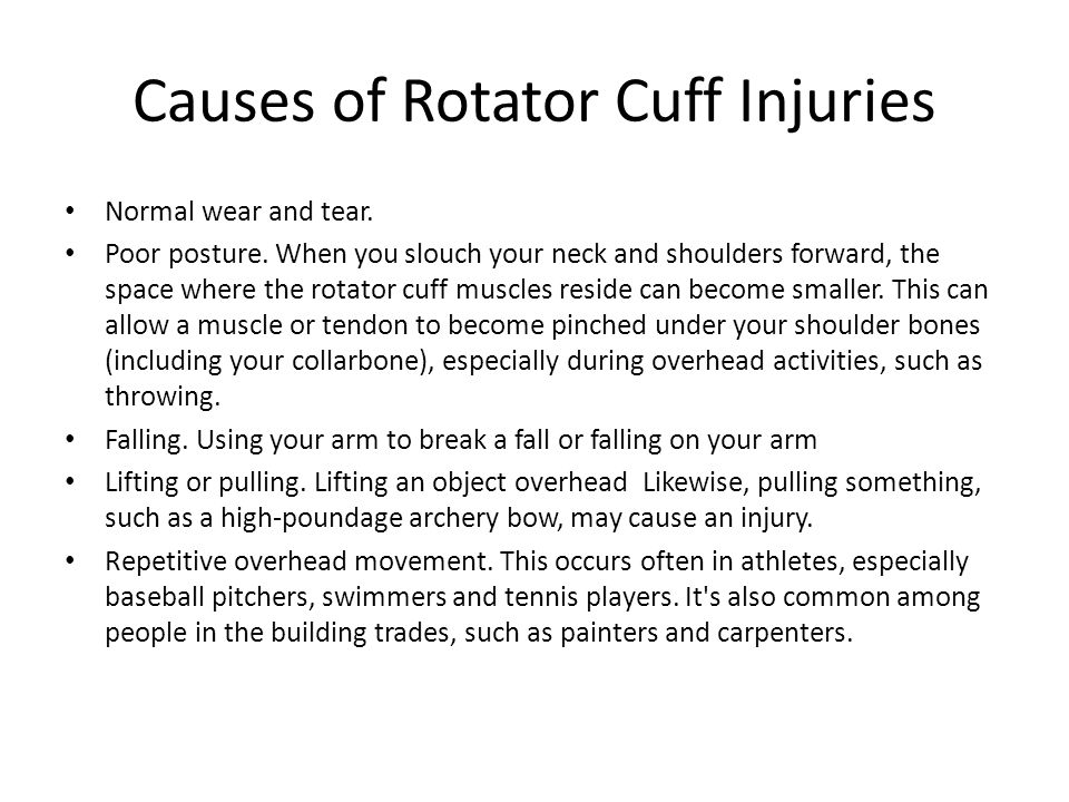 Causes of Rotator Cuff Injuries Normal wear and tear. Poor posture. When you slouch your neck and shoulders forward, the space where the rotator cuff