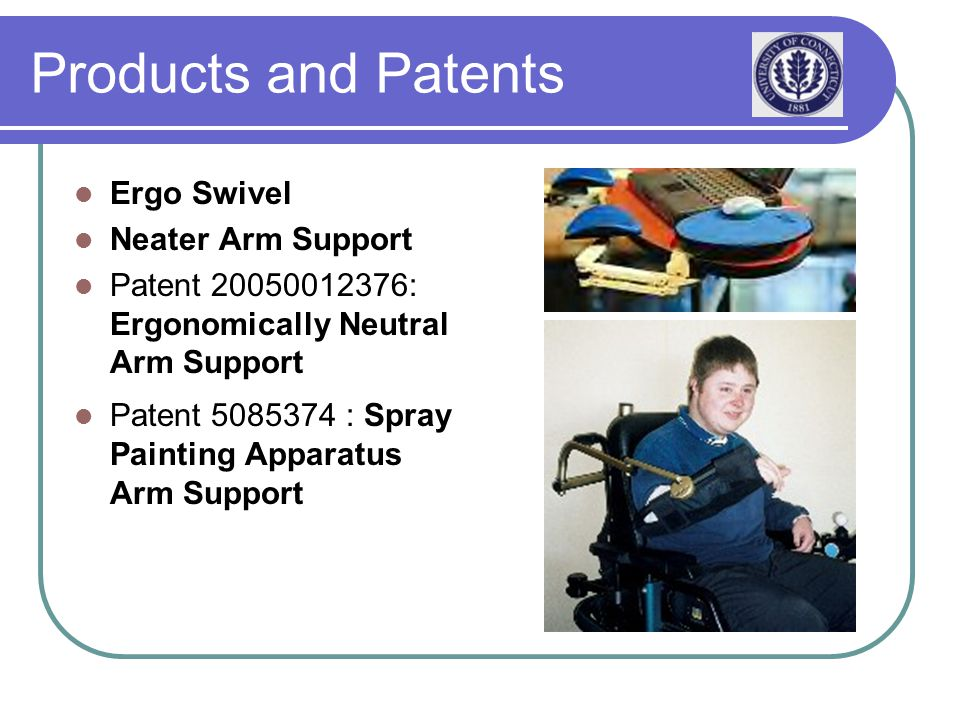 Products and Patents Ergo Swivel Neater Arm Support Patent 20050012376: Ergonomically Neutral Arm Support Patent 5085374 : Spray Painting Apparatus Arm Support