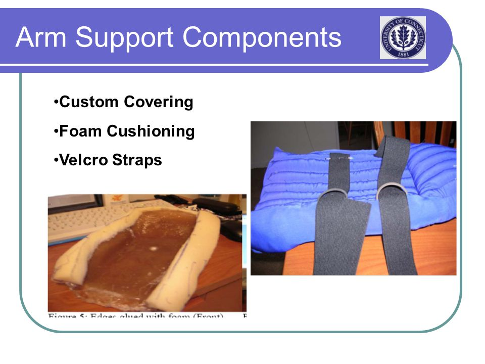 Arm Support Components Custom Covering Foam Cushioning Velcro Straps