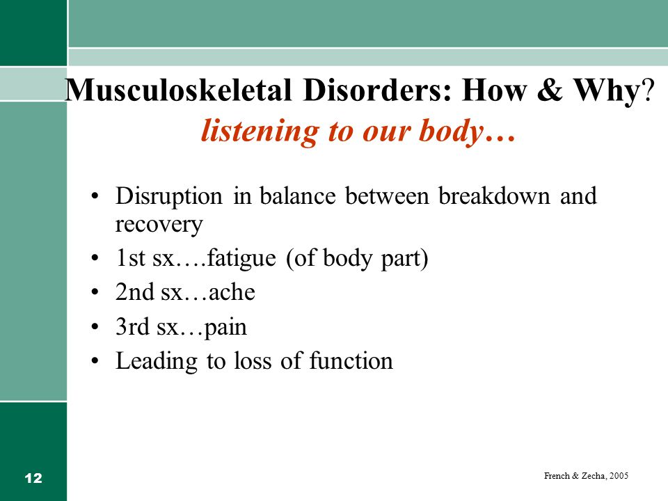 12 Musculoskeletal Disorders: How & Why.
