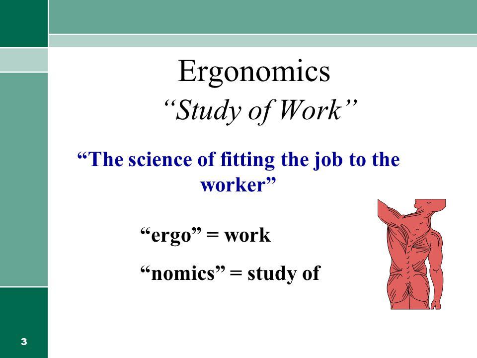 3 Ergonomics Study of Work The science of fitting the job to the worker ergo = work nomics = study of