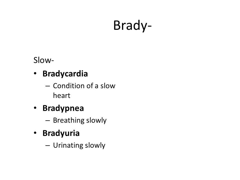 Brady- Slow- Bradycardia – Condition of a slow heart Bradypnea – Breathing slowly Bradyuria – Urinating slowly