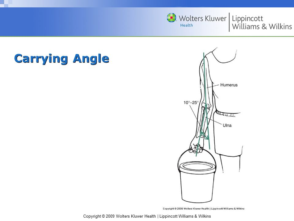 Copyright © 2009 Wolters Kluwer Health | Lippincott Williams & Wilkins Carrying Angle