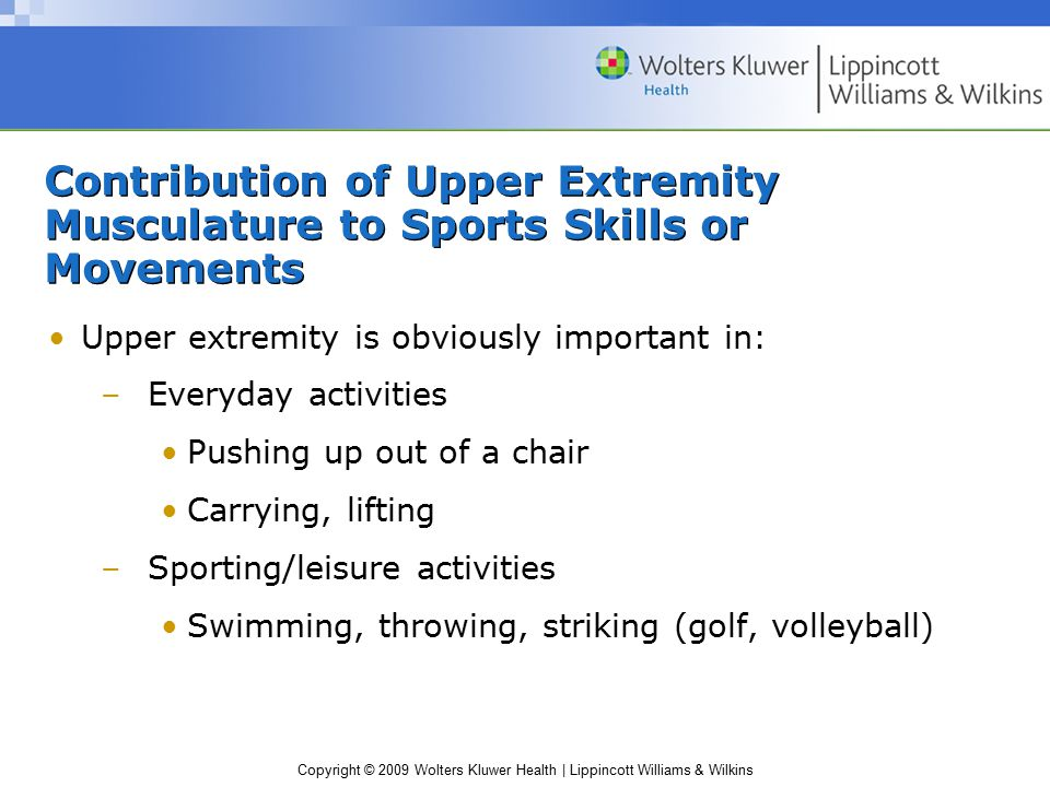 Copyright © 2009 Wolters Kluwer Health | Lippincott Williams & Wilkins Contribution of Upper Extremity Musculature to Sports Skills or Movements Upper
