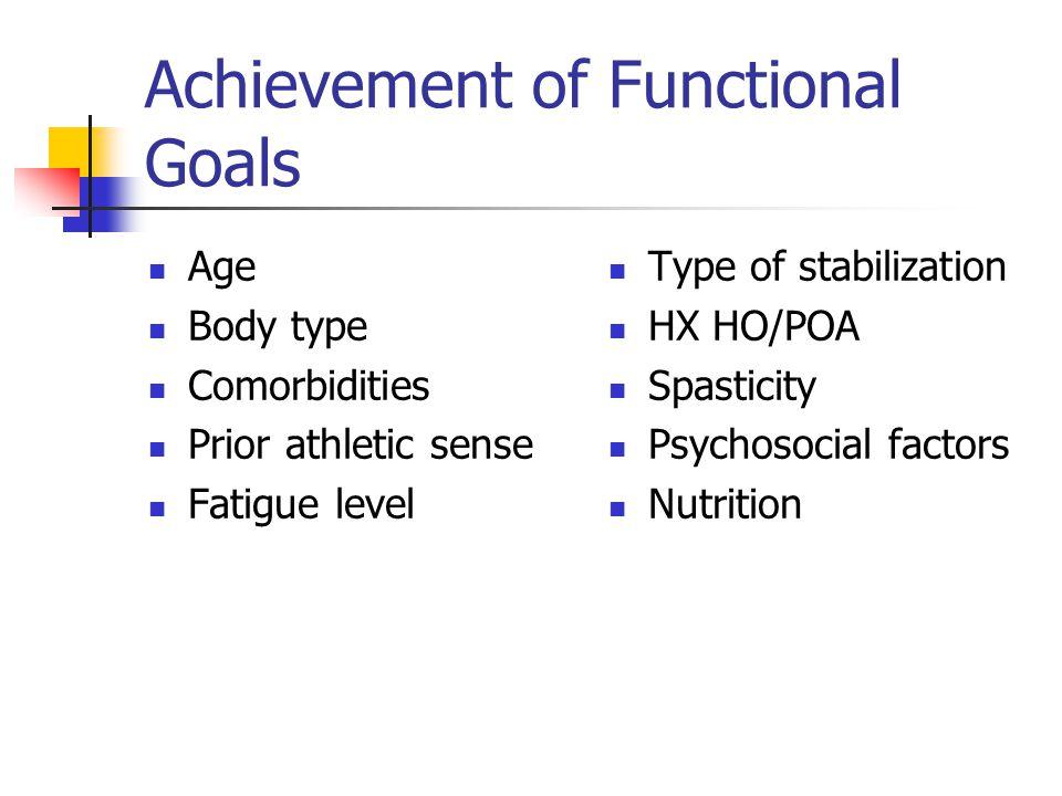 Achievement of Functional Goals Age Body type Comorbidities Prior athletic sense Fatigue level Type of stabilization HX HO/POA Spasticity Psychosocial factors Nutrition