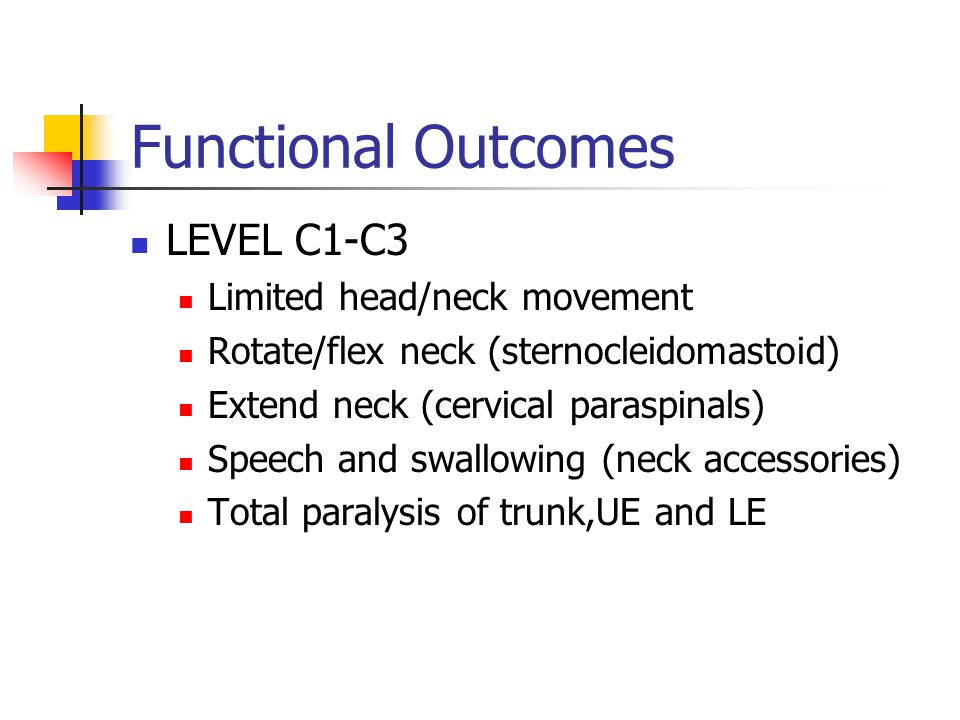 Functional Outcomes LEVEL C1-C3 Limited head/neck movement Rotate/flex neck (sternocleidomastoid) Extend neck (cervical paraspinals) Speech and swallowing (neck accessories) Total paralysis of trunk,UE and LE