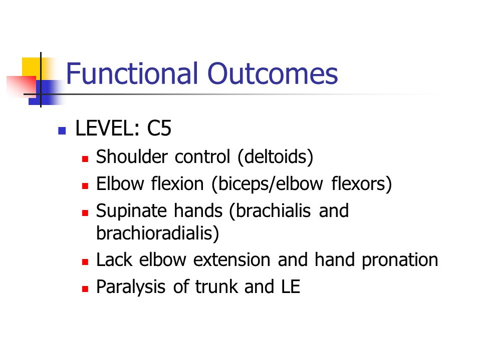 Functional Outcomes LEVEL: C5 Shoulder control (deltoids) Elbow flexion (biceps/elbow flexors) Supinate hands (brachialis and brachioradialis) Lack elbow extension and hand pronation Paralysis of trunk and LE