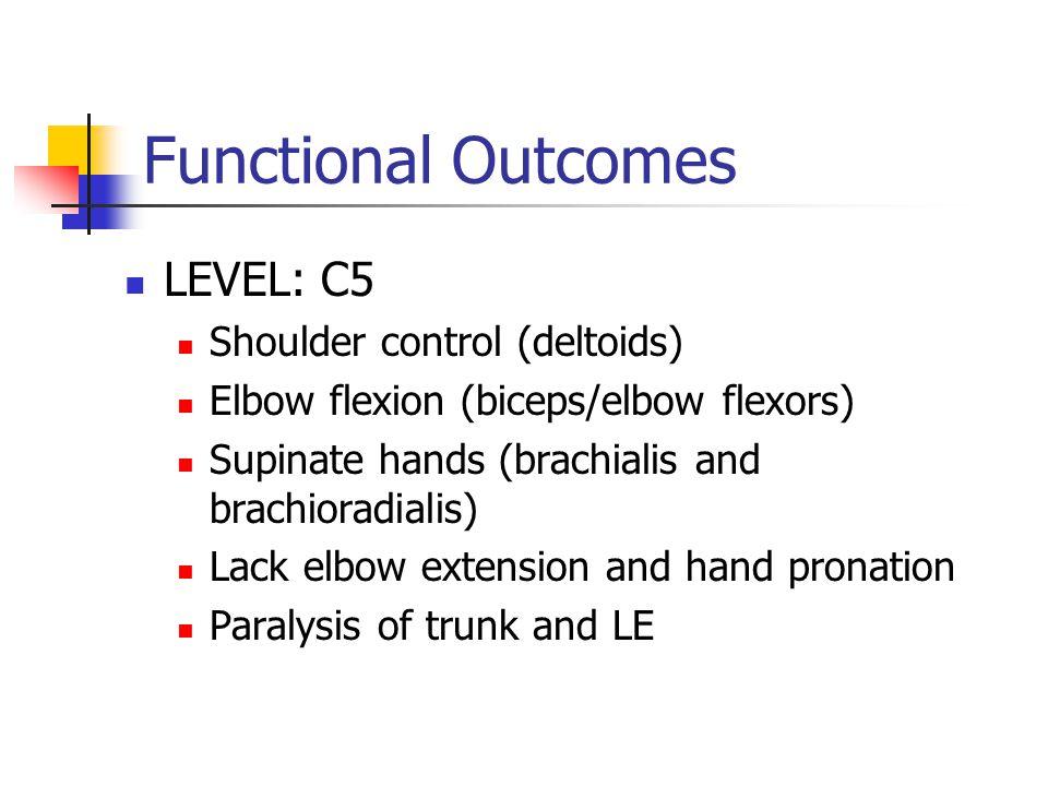 Functional Outcomes LEVEL: C5 Shoulder control (deltoids) Elbow flexion (biceps/elbow flexors) Supinate hands (brachialis and brachioradialis) Lack el