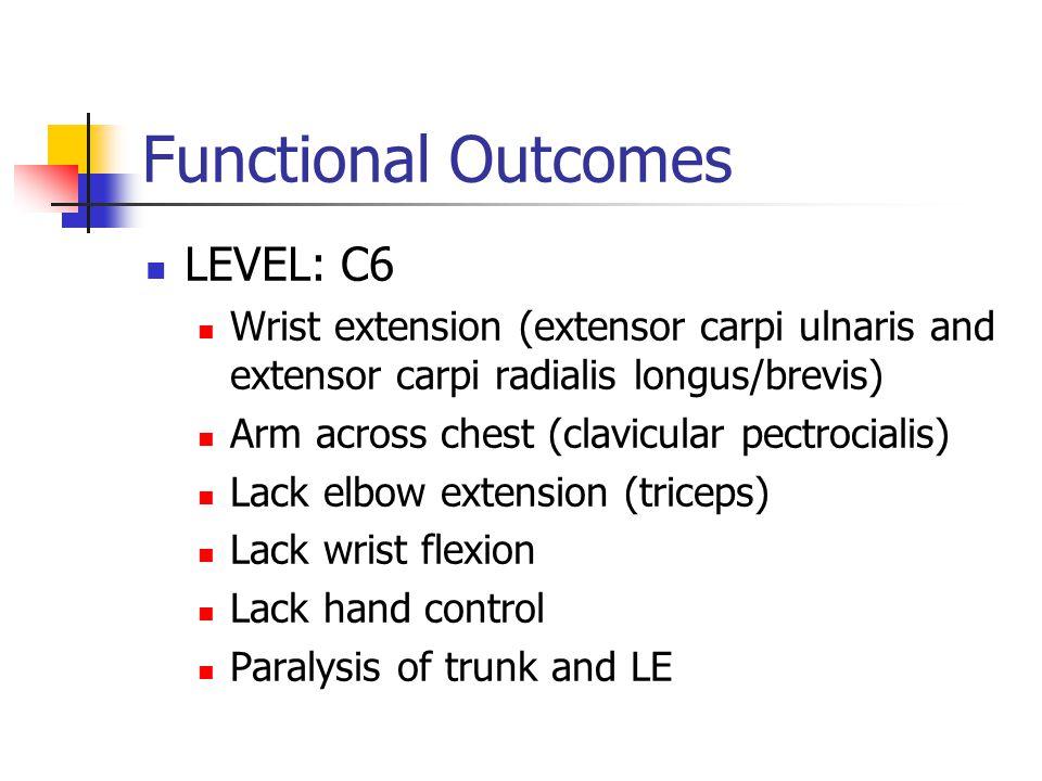 Functional Outcomes LEVEL: C6 Wrist extension (extensor carpi ulnaris and extensor carpi radialis longus/brevis) Arm across chest (clavicular pectrocialis) Lack elbow extension (triceps) Lack wrist flexion Lack hand control Paralysis of trunk and LE