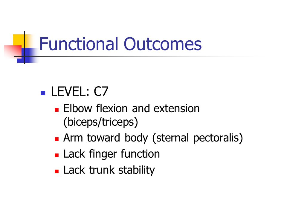 Functional Outcomes LEVEL: C7 Elbow flexion and extension (biceps/triceps) Arm toward body (sternal pectoralis) Lack finger function Lack trunk stability