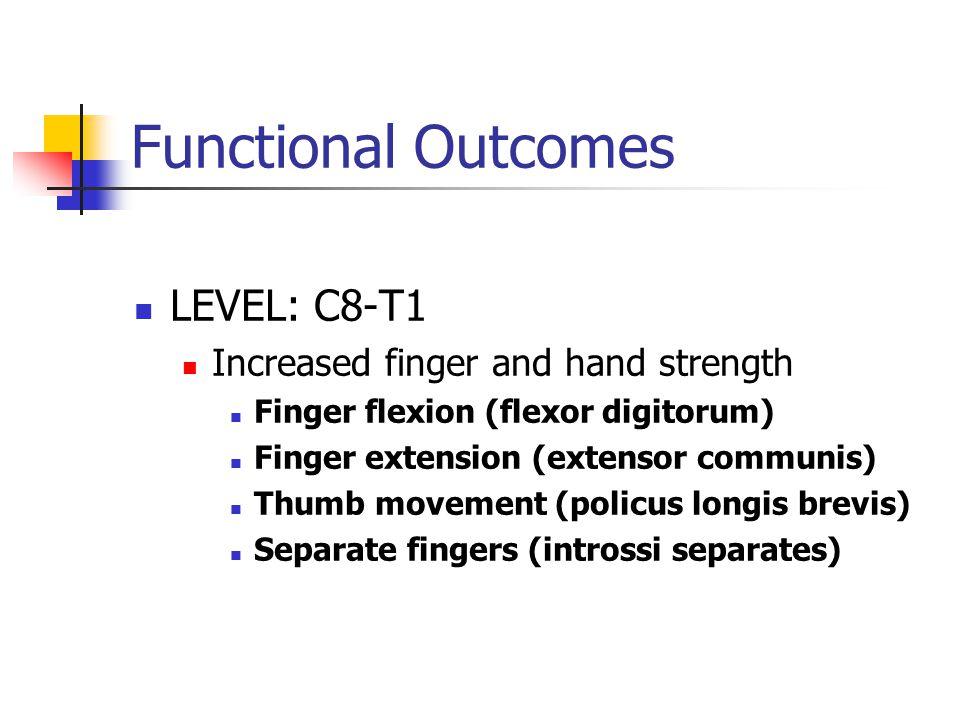 Functional Outcomes LEVEL: C8-T1 Increased finger and hand strength Finger flexion (flexor digitorum) Finger extension (extensor communis) Thumb movement (policus longis brevis) Separate fingers (introssi separates)