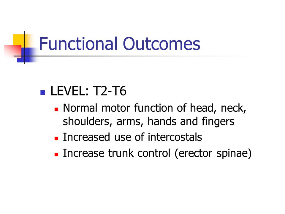 Functional Outcomes LEVEL: T2-T6 Normal motor function of head, neck, shoulders, arms, hands and fingers Increased use of intercostals Increase trunk