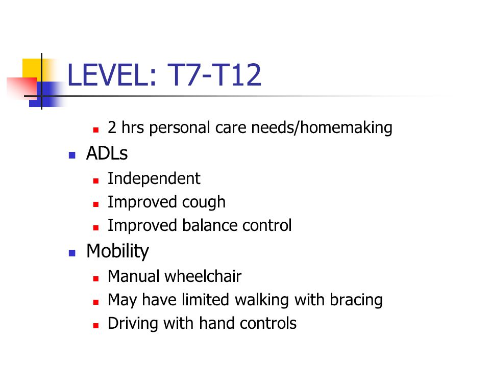 LEVEL: T7-T12 2 hrs personal care needs/homemaking ADLs Independent Improved cough Improved balance control Mobility Manual wheelchair May have limited walking with bracing Driving with hand controls