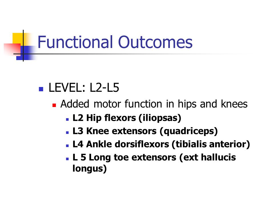 Functional Outcomes LEVEL: L2-L5 Added motor function in hips and knees L2 Hip flexors (iliopsas) L3 Knee extensors (quadriceps) L4 Ankle dorsiflexors