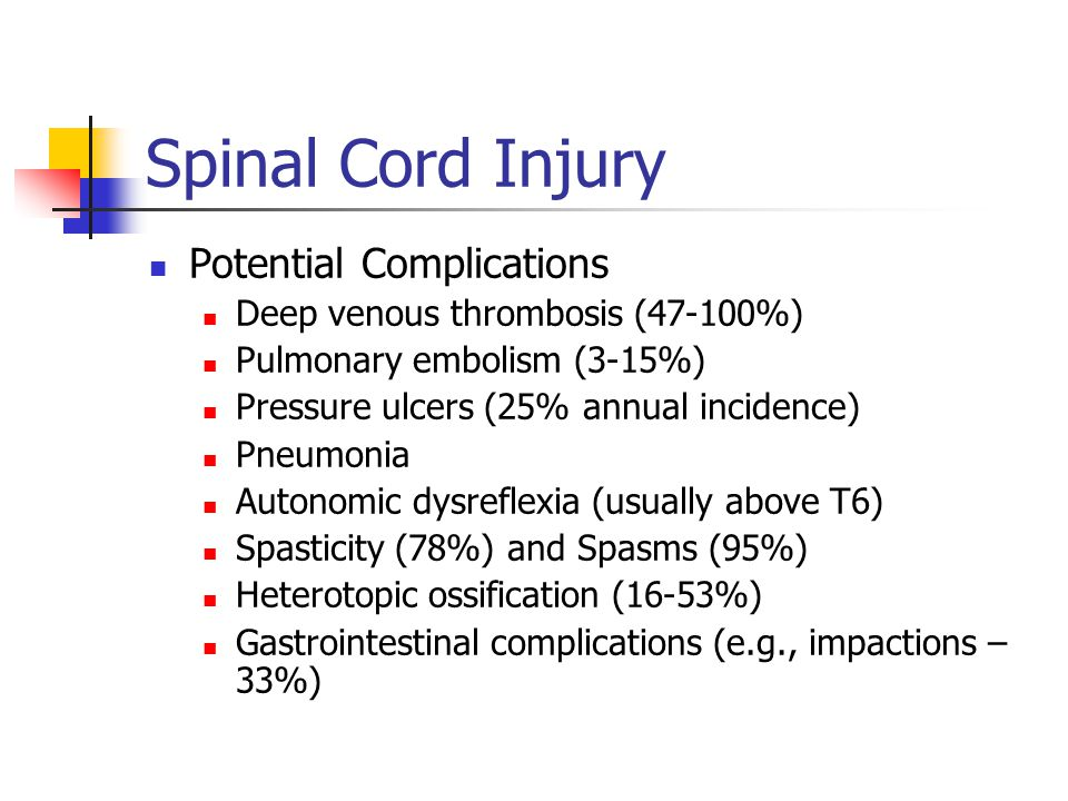 Spinal Cord Injury Potential Complications Deep venous thrombosis (47-100%) Pulmonary embolism (3-15%) Pressure ulcers (25% annual incidence) Pneumoni