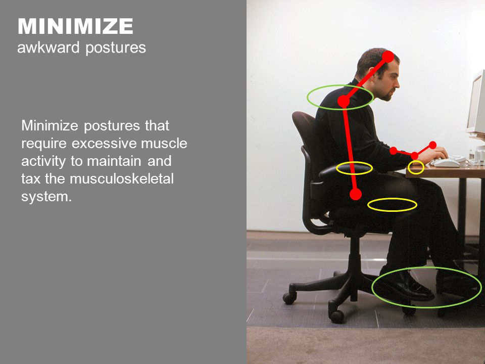 MINIMIZE awkward postures Minimize postures that require excessive muscle activity to maintain and tax the musculoskeletal system.