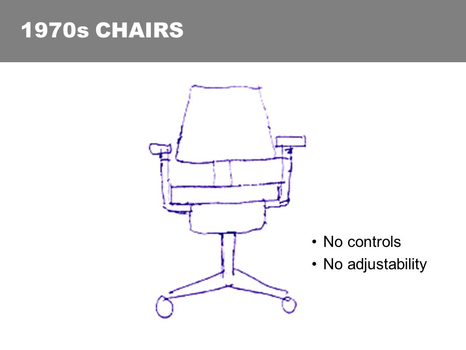 1970s CHAIRS No controls No adjustability