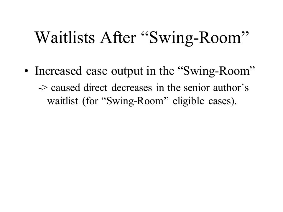 """Waitlists After """"Swing-Room"""" Increased case output in the """"Swing-Room"""" -> caused direct decreases in the senior author's waitlist (for """"Swing-Room"""" el"""