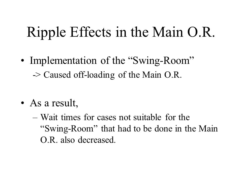 """Ripple Effects in the Main O.R. Implementation of the """"Swing-Room"""" -> Caused off-loading of the Main O.R. As a result, –Wait times for cases not suita"""