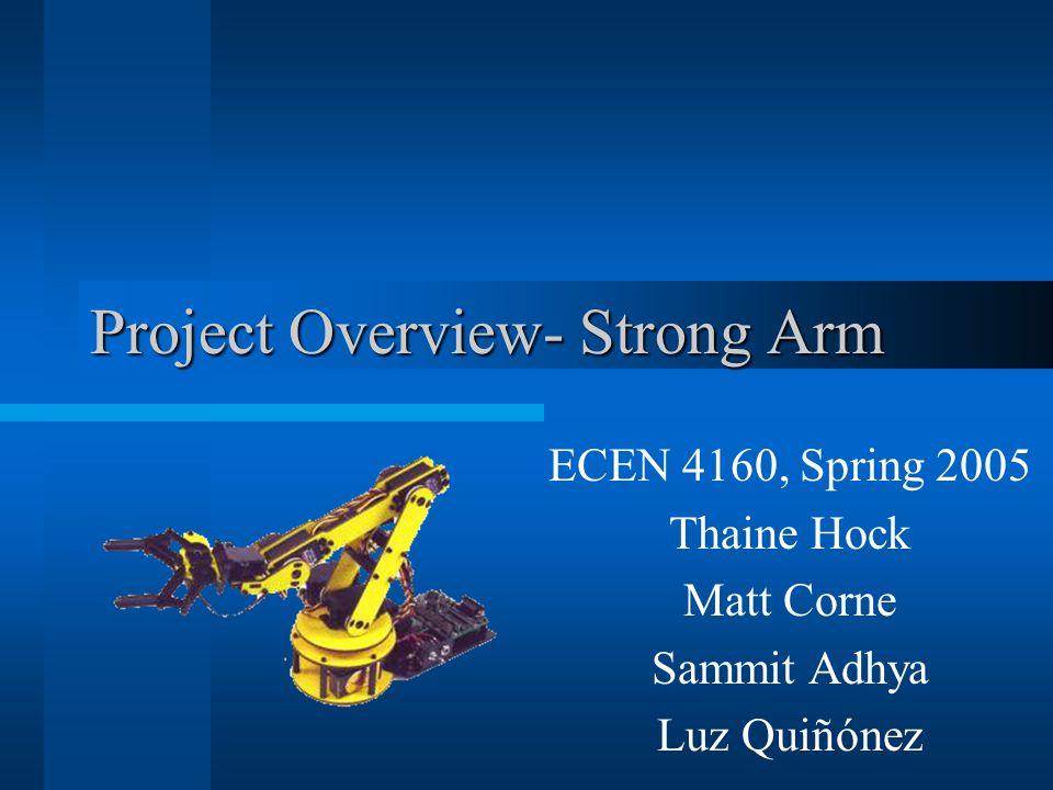 Project Overview- Strong Arm ECEN 4160, Spring 2005 Thaine Hock Matt Corne Sammit Adhya Luz Quiñónez