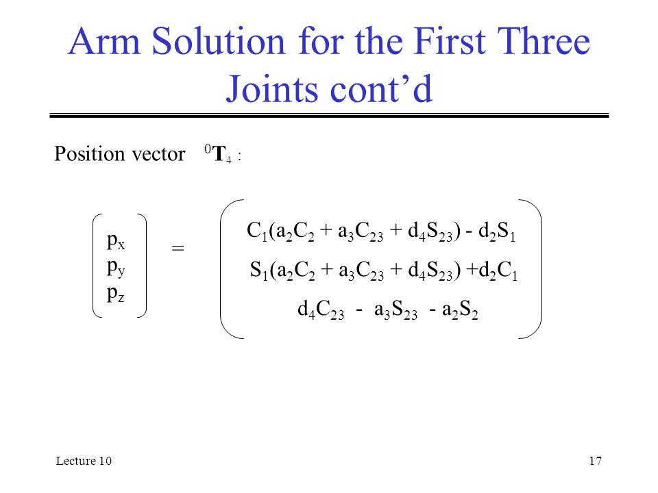 Lecture 1017 Arm Solution for the First Three Joints cont'd = C 1 (a 2 C 2 + a 3 C 23 + d 4 S 23 ) - d 2 S 1 S 1 (a 2 C 2 + a 3 C 23 + d 4 S 23 ) +d 2 C 1 d 4 C 23 - a 3 S 23 - a 2 S 2 pxpypzpxpypz Position vector 0 T 4 :