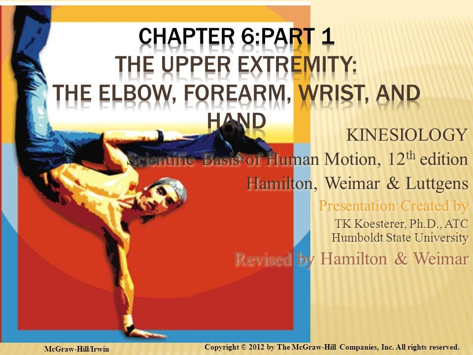 KINESIOLOGY Scientific Basis of Human Motion, 12 th edition Hamilton, Weimar & Luttgens Presentation Created by TK Koesterer, Ph.D., ATC Humboldt Stat