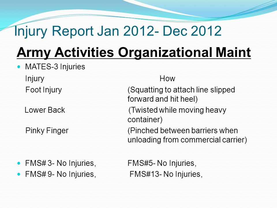 Injury Report Jan 2012- Dec 2012 Army Activities Organizational Maint MATES-3 Injuries Injury How Foot Injury (Squatting to attach line slipped forward and hit heel) Lower Back (Twisted while moving heavy container) Pinky Finger(Pinched between barriers when unloading from commercial carrier) FMS# 3- No Injuries, FMS#5- No Injuries, FMS# 9- No Injuries, FMS#13- No Injuries,