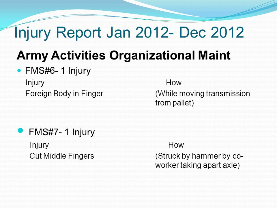 Injury Report Jan 2012- Dec 2012 Army Activities Organizational Maint FMS#6- 1 Injury Injury How Foreign Body in Finger (While moving transmission from pallet) FMS#7- 1 Injury Injury How Cut Middle Fingers(Struck by hammer by co- worker taking apart axle)