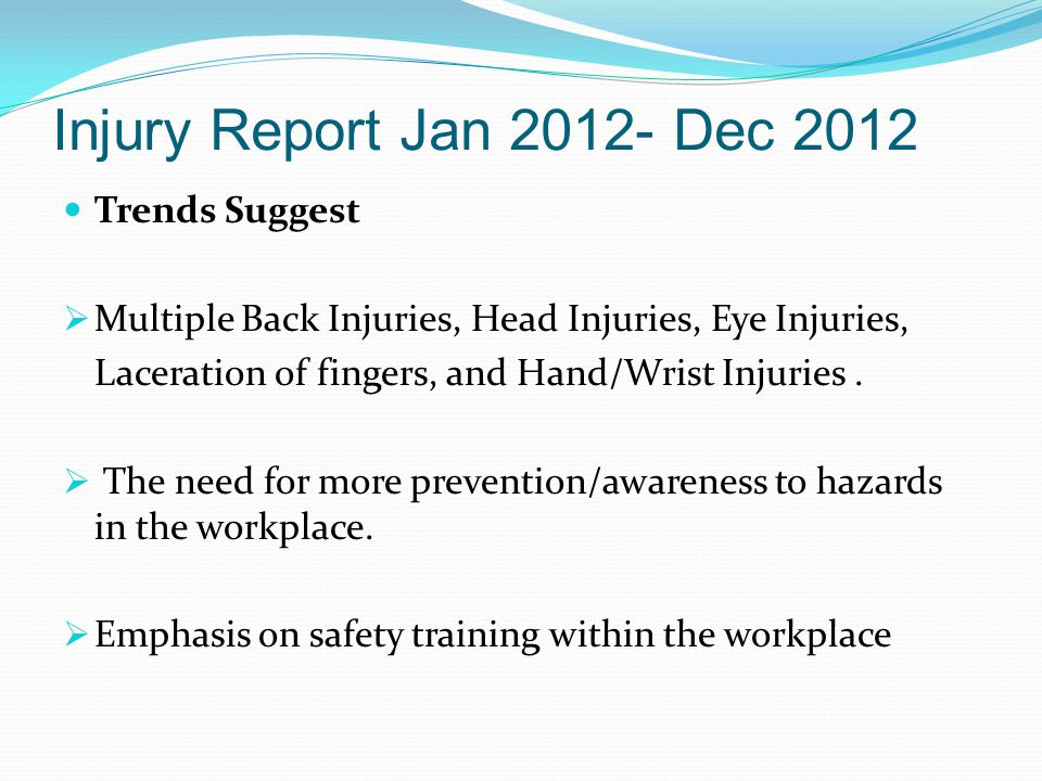 Injury Report Jan 2012- Dec 2012 Trends Suggest  Multiple Back Injuries, Head Injuries, Eye Injuries, Laceration of fingers, and Hand/Wrist Injuries.