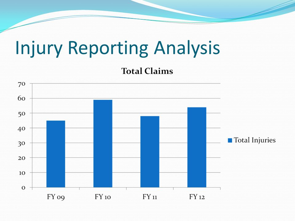 Injury Report Jan 2012- Dec 2012 In Jan 2012-Dec 2012 there were 54 new injury claims We will focus to identify trends Report Army Injuries by Organization Report Air Injuries by Organization